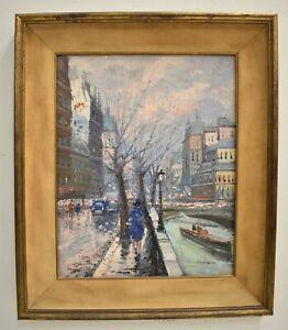 Parisian Street Scene Oil Painting Signed Illegible