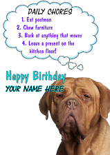 Dogue de Bordeaux Dog Birthday Rules card code kj A5 Personalised Greetings