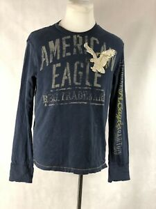 AMERICAN EAGLE 'Vintage Fit' blue long sleeve graphic Tee sz L Men Single Stitch