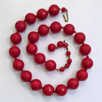 Vintage Germany Knotted Red Faceted Lucite Beaded Choker Necklace VTG Jewelry