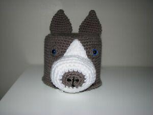 Handmade Toilet Paper Roll Cover Crochet gray PITBULL STAFFY PITTY bathroom