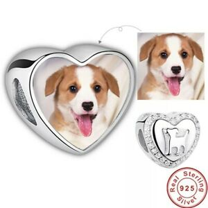 Dog Pet Personalised Heart Photo Charm 925 Sterling Silver Bead Bracelet Custom