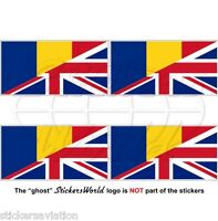 ROMANIA-UK Flag Romanian-United Kingdom British Union Jack 50mm Sticker Decal x4