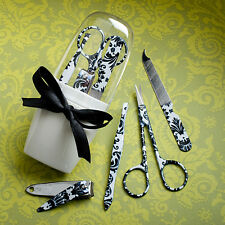 6 Pretty Black Damask Manicure Sets Wedding Favors Party Bridal Bridesmaid Gifts