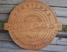 Solid Oak INWOOD FURNITURE MANUFACTURING Authorized Dealer Sign