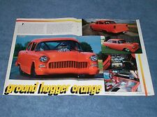 "1955 Chevy 2-Door Sedan Pro Street Article ""Ground Hugger Orange"" Blown 409"
