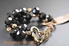 Lucky Brand Bracelet Black Double Strand Glass Beads Beaded Layer Gold Tone NEW