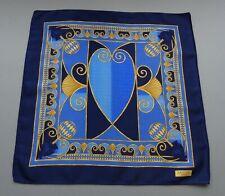 Auth Lanvin Paris Satin Silk Pocket Square Handkerchief Navy w/Art Deco Print