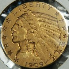 1909 US $5 Indian Head Half Eagle Gold Coin - No Reserve