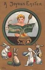 Easter Greetings Baby Cooking Eggs HGB Vintage Postcard AA10860