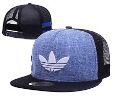 Embroidered Adidas Trefoil Snapback Blue and Black Mesh Flat Cap: One Size