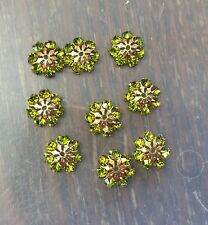 Vintage Brass Swar Green Crystal Prong Set Domed Umbrella Bead Cap Finding Lot