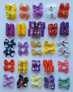 Pair of Pretty Girl Dog & Puppy Hair Bands Top Knot Grooming Bows Shih Tzu etc