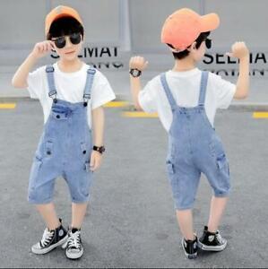 Kids Child Casual Denim Shorts Suspender Short Pants Boys Cargo Jeans Jumpsuit