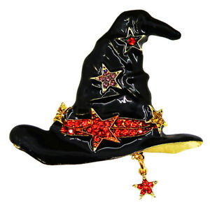 RUCINNI Witch Hat Brooch with Preciosa Czech Crystals, Gold Plated (30181)