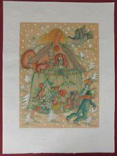 Lithografie Francoise Deberdt - Suite Noël: la Fille et l'écureuil
