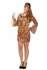 Ladies Groovy Hippie Fancy Dress Hippy Costume Womens 1970s 1960s (U37 900)