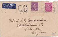 APH207) Australia 1947 small airmail cover to Ceylon. Bears 2d Mauve