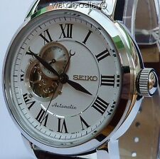 SEIKO CLASSIC NEW MENS LEATHER GOLD TONE AUTOMATIC 24 JEWEL WATCH SSA231K1