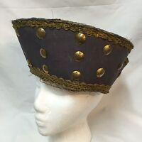 Antique Freemasons Purple & Gold Hat Crown Costume Uniform Ceremonial Cap Knight