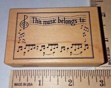 """This Music Belongs To:"" Musical Notes F-737 PSX Wood & Foam Rubber Stamp"