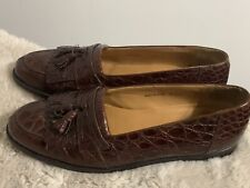 "RARE! $995+ MEZLAN ""RODEO"" Genuine Crocodile Alligator Loafers Shoes Brown 10.5"