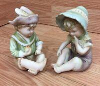 "Vintage Design Reg 6682 Boy and Girl Ceramic Figurines 4.5"""