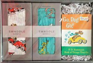 Go, Dog, Go! Mini Board Book w/Swaddle Bamboo Gift set- NEW IN BOX