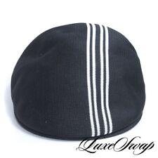Kangol Made in Great Britain Black Knit 502 Regatta White Stripe Flat Cap Hat SM