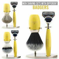 Men's Luxury Shaving Gift Sets With Shaving Razor, Badger Hair Brush and Stand