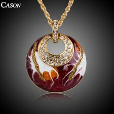 Fashion Red Oil Painting Austrian Crystal Pendant Lady18k Gold Plated Necklace