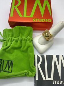 Robert Lee Morris RLM Studio Bold Square Brass Symbol Message Ring Size 10 NIB
