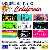 Any Color Customized Aluminum California LICENSE PLATE TAG Auto ATV Motorcycle