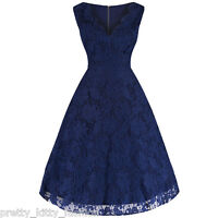 PRETTY KITTY NAVY LACE 50s EMBROIDERED ROCKABILLY SWING PARTY PROM DRESS 8-20