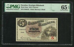 Sweden : 5 Kronor 1944 ; PMG : Gem UNC 65 ; EPQ