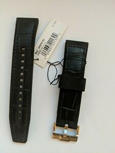 SEIKO 22mm Black Leather Rubber Band with Monstrap Buckle | SRPD76 Watch Strap