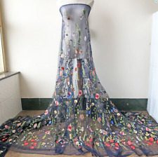 Flower Vine Embroidery Bridal Lace Fabric Material DIY Wedding Dress Gown 1 Yard