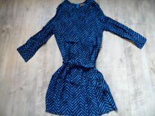 POR MALENE BIRGER hermoso vestido en un borde del azul negro tamaño 36 de zigzag. BI917