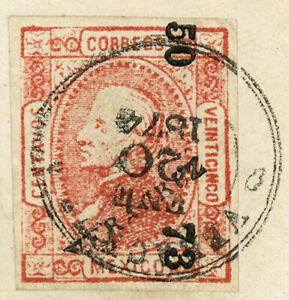 MEXICO 1874 Vera Cruz Overprint Postmarked Cover Postage Latin America
