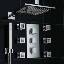 "Thermostatic Shower Faucet 8"" Rainfall 6 Massage Jets Hand Shower Mixer Chrome"