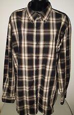 Basic Editions Mens Brown/Black/White Plaid Button Down Shirt Size L