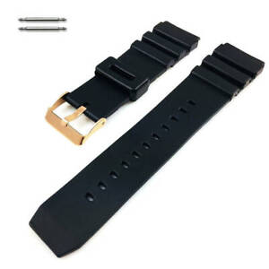 Black Rubber Silicone Diver's Replacement Watch Band Strap Rose Gold Buckle 31RG