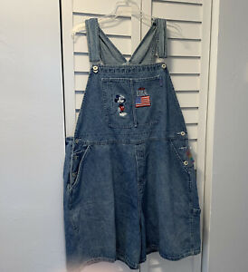 Disney Plus Mickey Mouse 24W Blue Denim Jean America Shortalls Overalls