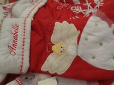 Pottery Barn Kids quilted stocking Blonde Angel Christmas mono Annabelle New