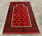 Authentic Hand Knotted Afghan Balouch Prayer Wool Area Rug 4 x 2 Ft (20711 HMN)