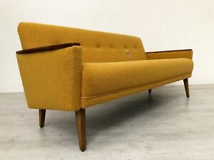 MODEL 55 DANISH TEAK INSPIRED MID CENTURY 3 SEAT SOFA SETTEE IN SAFFRON BOUCLE