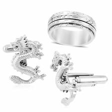 Set of 2 Stainless Steel Dragon Cuff Links & Diamond Cut Spinner Ring (Size 11)