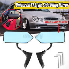 F1 Style Manual Adjustable Black Finish Metal Bracket Side View Mirror