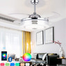 "Bluetooth Invisible Ceiling Fan Lamp LED 7-Color Music Player Chandelier 36""/42"""