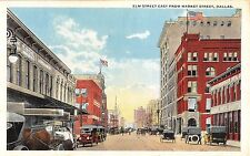 c.1920 Early Cars Stores Elm St. East from Market St. Dallas TX post card